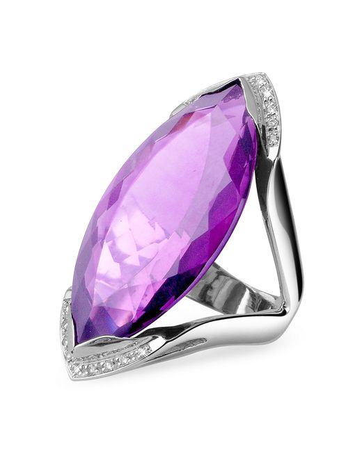 FORZIERI | Metallic Amethyst And Diamond White Gold Fashion Ring | Lyst