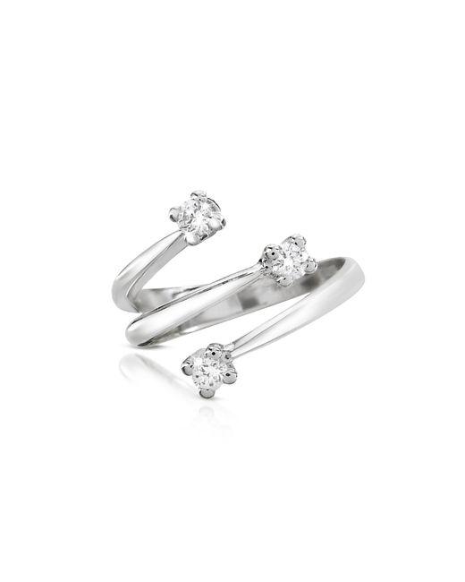 Forzieri | White 0.215 Ct Three-stone Diamond 18k Gold Ring | Lyst