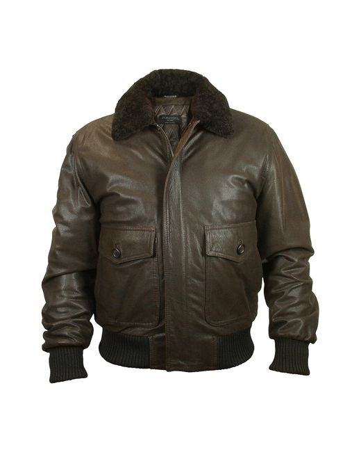 FORZIERI | Men's Dark Brown Chevrette Two-pocket Jacket W/fur Collar for Men | Lyst