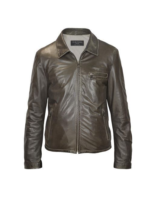 FORZIERI   Men's Dark Brown Genuine Leather Motorcycle Jacket for Men   Lyst