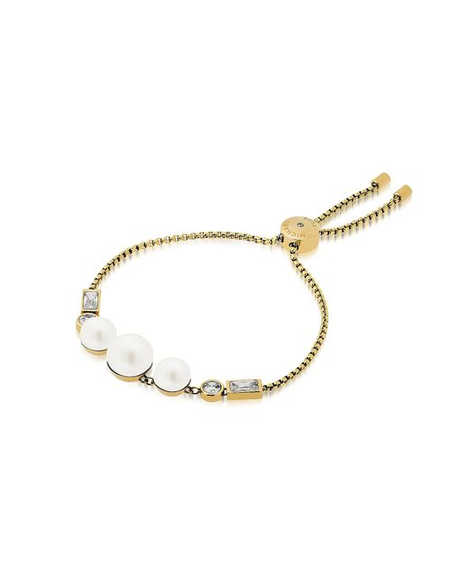 Michael Kors | Metallic Brilliance Goldtone Bracelet W/crystals And White Pearls | Lyst