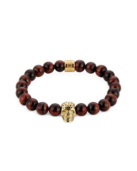 Northskull | Brown Red Tiger Eye & Perforated Gold Skull Charm Bracelet for Men | Lyst