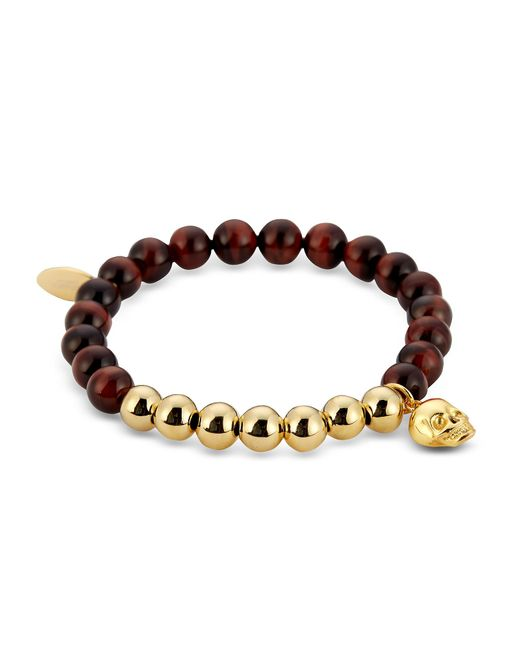 Northskull | Red Tiger Eye & Gold Skull Charm Bracelet for Men | Lyst