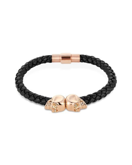 Northskull | Navy Blue Nappa Leather/ 18kt. Rose Gold Twin Skull Bracelet | Lyst