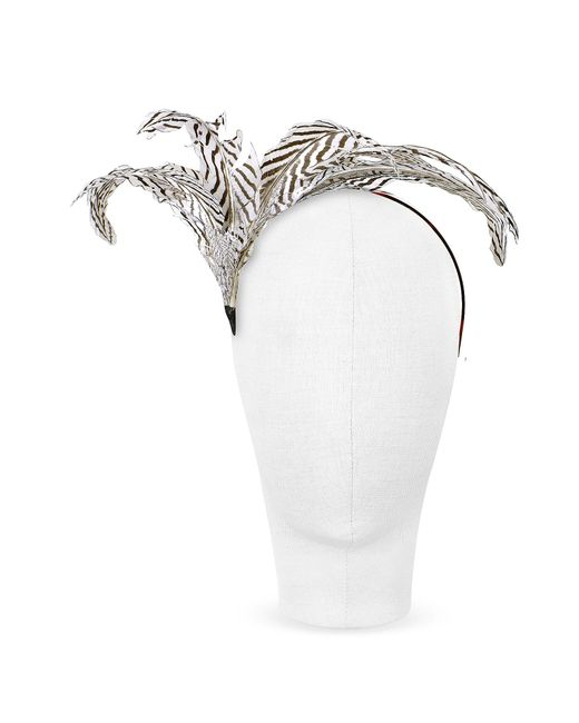 Nana'   Beverly - Black And White Feather Flower Headband   Lyst