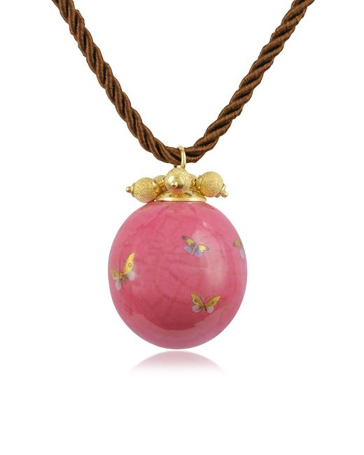Naoto | Pink Alchimia - Round Gold Foil Pendant With Lace | Lyst