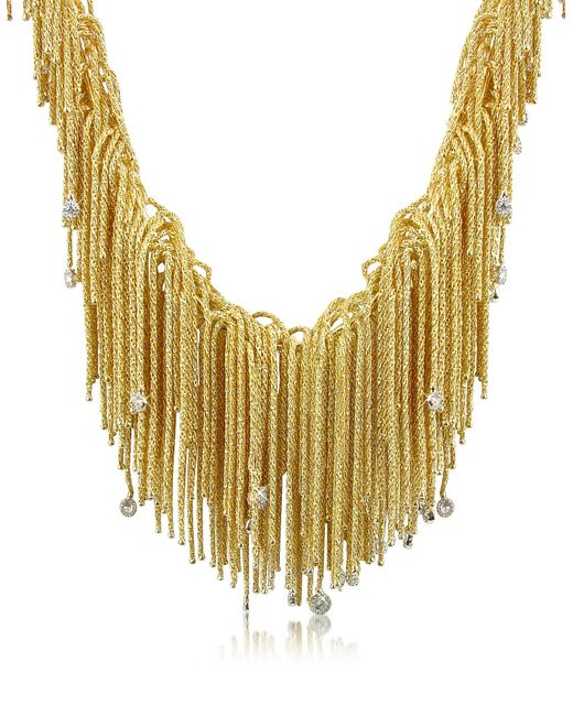 Orlando Orlandini | Flirt - Diamond Drops 18k Yellow Gold Thread Necklace | Lyst
