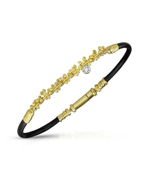 Orlando Orlandini - Metallic Central Diamond 18k Gold And Rubber Bracelet for Men - Lyst