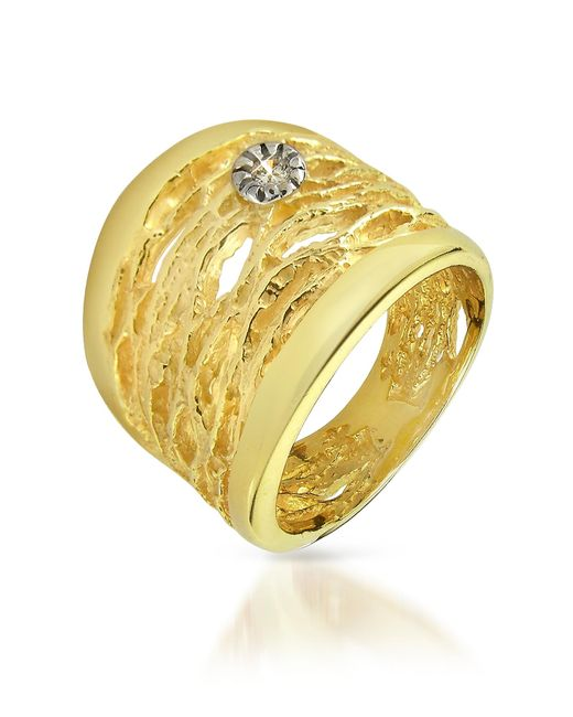 Orlando Orlandini | Diamond Open-work 18k Yellow Gold Band Ring | Lyst