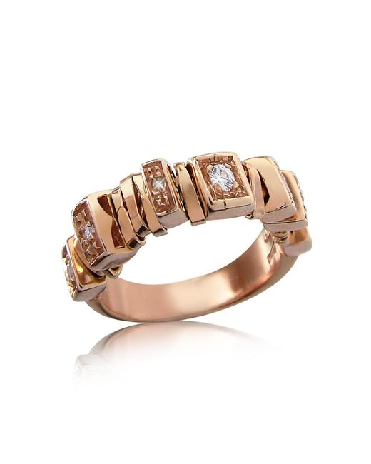 Orlando Orlandini | Yellow Sole - Diamond 18k Rose Gold Band Ring | Lyst