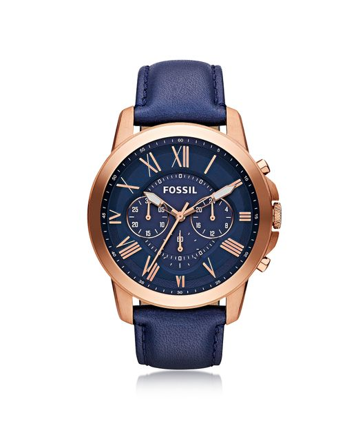 Fossil - Grant Chronograph Rose Gold Tone Stainless Steel Case And Navy Blue Leather Strap Men's Watch for Men - Lyst