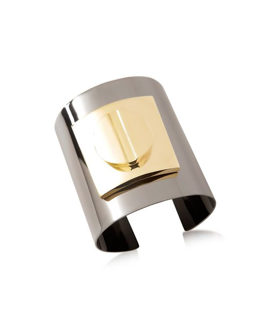 Pluma | Gray Two Tone Large Viti Brass Cuff In Fumoso | Lyst