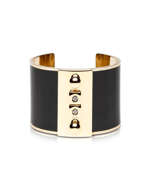 Pluma | Golden Brass And Black Enamel Cuff | Lyst