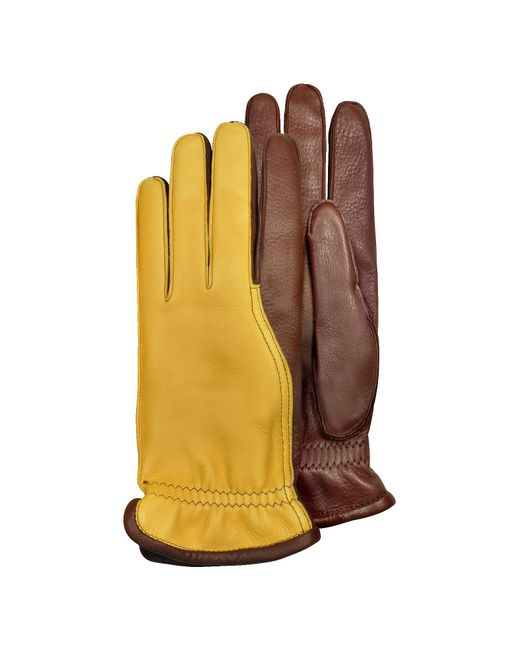 Pineider | Brown Men's Two-tone Deerskin Leather Gloves W/ Cashmere Lining for Men | Lyst