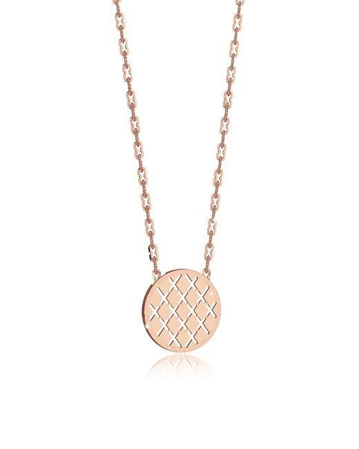 Rebecca | Pink Melrose Rose Gold Over Bronze Necklace W/round Charm | Lyst