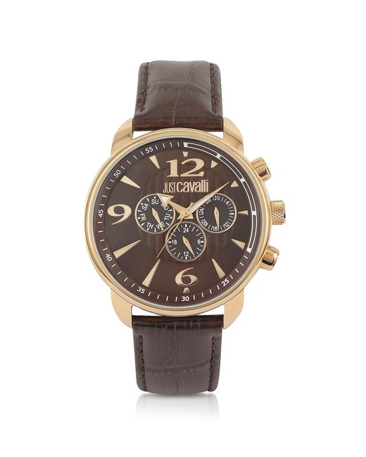 Just Cavalli | Earth Brown Croco Multifunction Watch for Men | Lyst