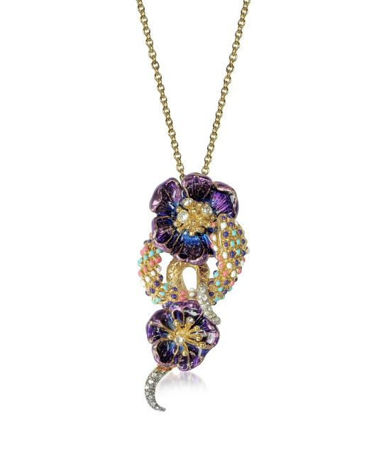 Roberto Cavalli | Metallic Purple Flower Goldtone Brass Necklace W/crystals | Lyst