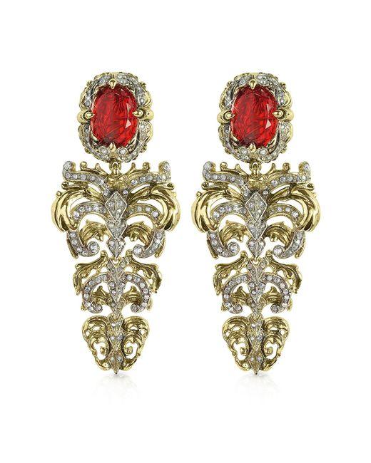 Roberto Cavalli | Metallic Renaissance Light Gold Tone Metal And Ruby Clip On Earrings | Lyst