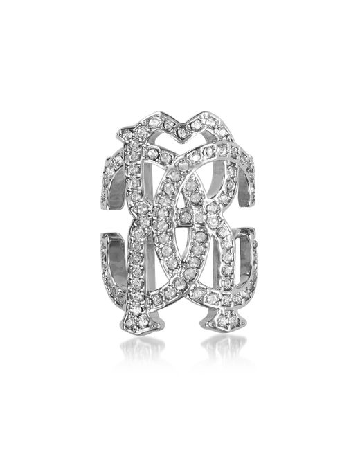 Roberto Cavalli - Metallic Rc Icon Silvertone Ring W/crystals - Lyst