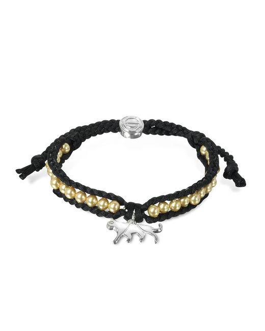 Sho London - Black Jaguar Friendship Silk Bracelet - Lyst