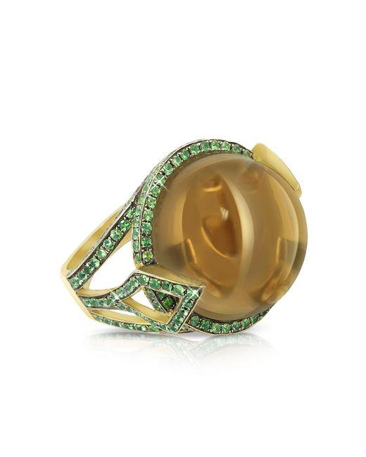 Sho London - Brown 18k Gold V-seal Smoky Quartz Feodora Ring - Lyst