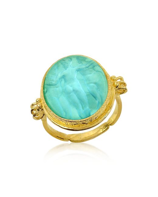 Tagliamonte | Blue Three Graces - 18k Gold Turquoise Mother Of Pearl Cameo Ring | Lyst