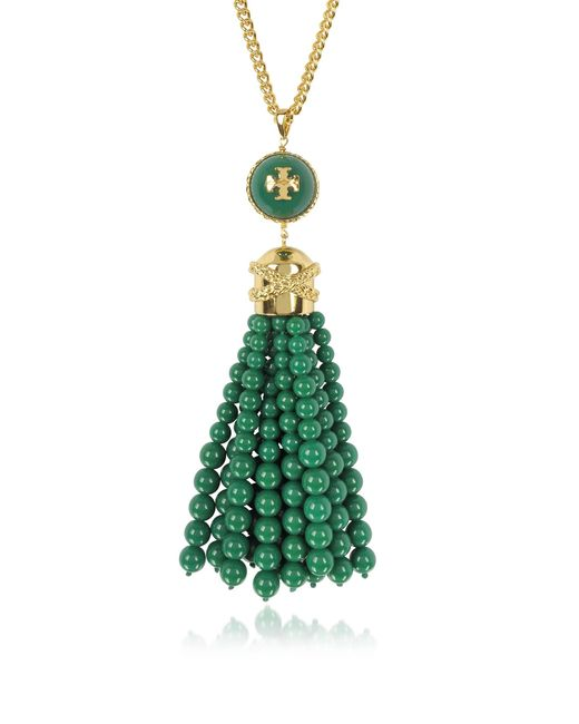 Tory Burch | Green Tory Gold Brass And Resin Beaded Tassel Long Necklace | Lyst