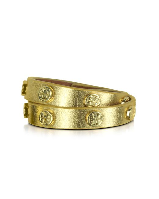 Tory Burch | Metallic Double Wrap Stud Logo Bracelet | Lyst