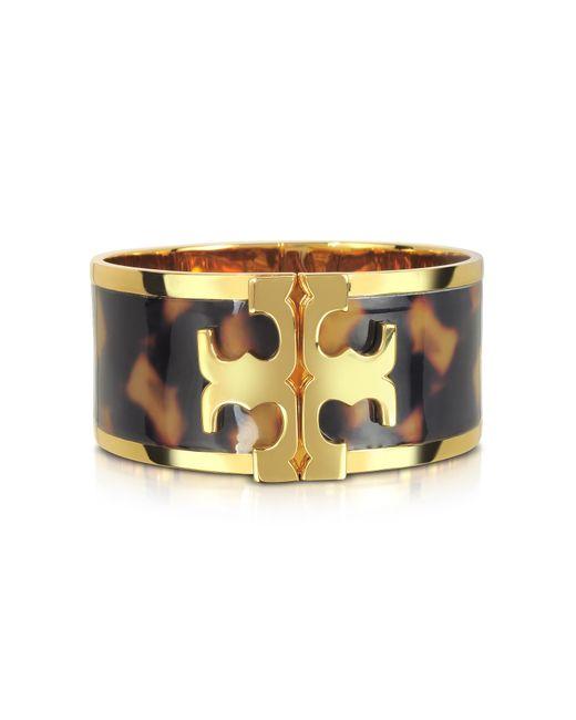 Tory Burch | Brown Brass And Tortoise Raised Logo Wide Cuff Bracelet | Lyst
