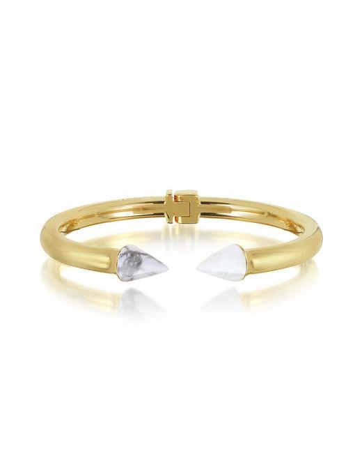 Vita Fede | Metallic Gold Plated Mini Titan Stone Bracelet W/white Howlite | Lyst