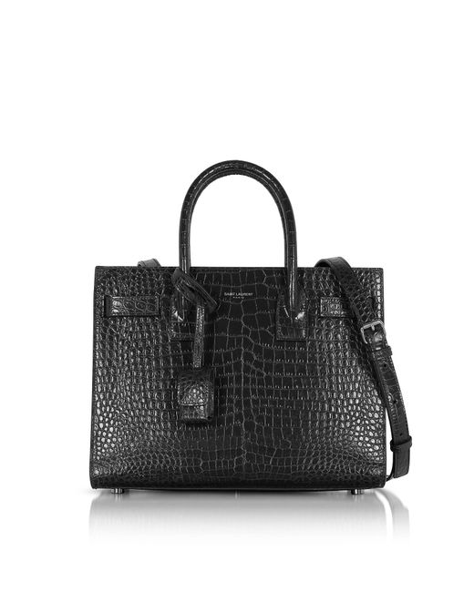 Saint Laurent Black Croco Embossed Leather Classic Baby