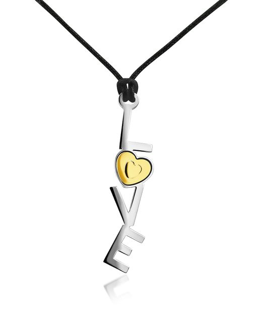 Zoppini | Gray 18k Gold And Stainless Steel Love Pendant W/lace | Lyst