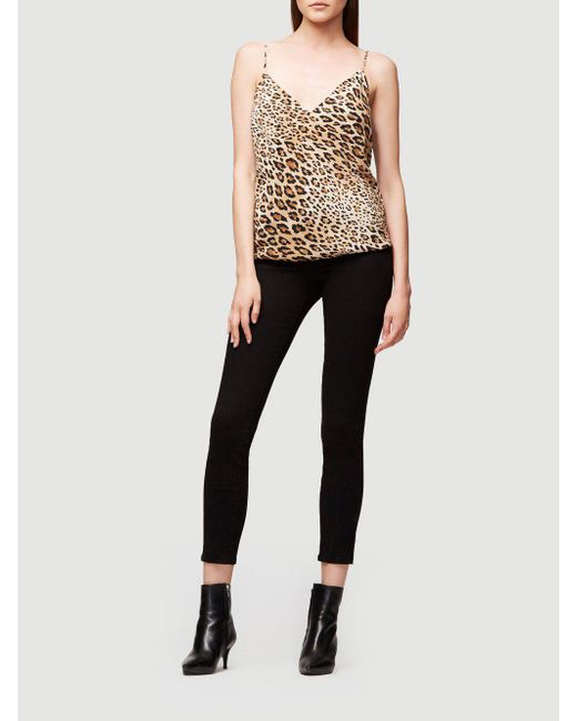 90a0b11ca1085d ... FRAME - Black V-neck Cheetah-print Silk Cami Top - Lyst ...