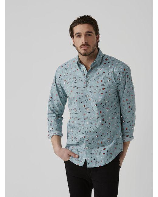 Frank and oak summer print poplin cotton shirt in light for Frank and oak shirt