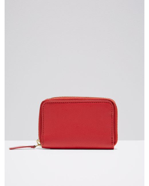 Frank And Oak | The Villa Mini Leather Zip Wallet In Red | Lyst