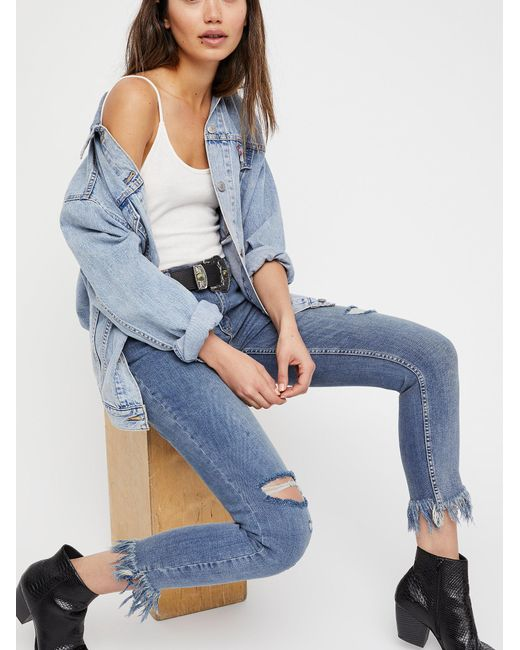 Free People - Blue Great Heights Frayed Skinny Jeans - Lyst