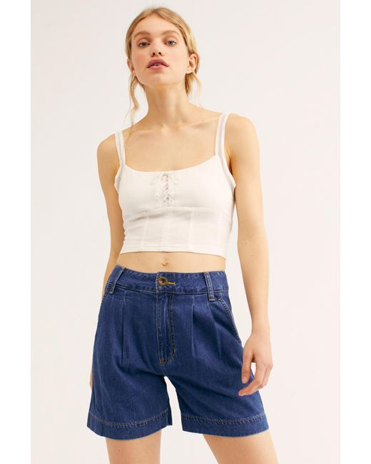 882018f033 Free People - Blue Lee Pleated Shorts - Lyst ...