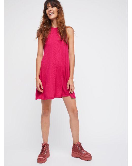 Free People - Pink Mock Me Mini Dress - Lyst