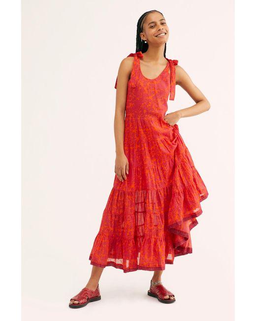 ee61ec714e7 Free People - Red Kika s Printed Midi Dress - Lyst ...