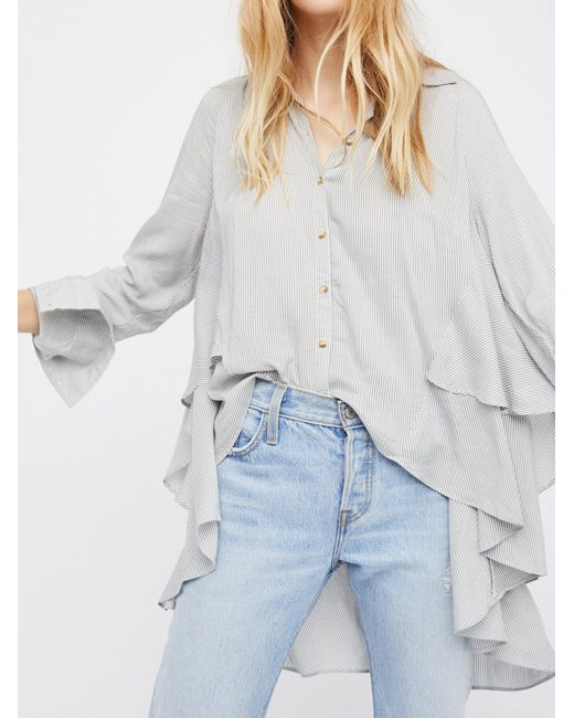 Free People | Gray Stripes On My Mind Top | Lyst