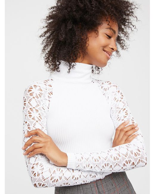 Free People   Multicolor Rib And Lace Turtleneck   Lyst