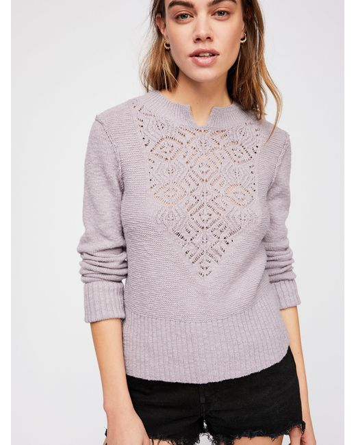 Free People - Purple Frosted Lace Sweater - Lyst