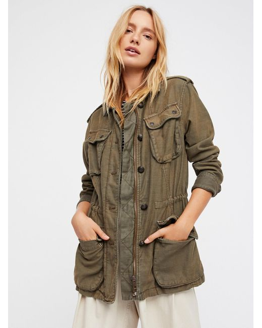 Free People | Green Not Your Brother's Surplus Jacket | Lyst