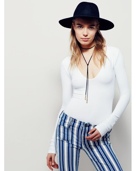 Free People - White Seamless Solid Deep V - Lyst