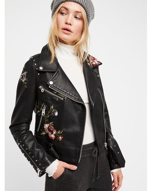 Free people faux leather embroidered moto jacket in black