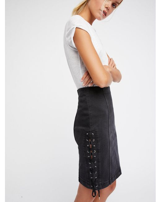Free People | Black Denim Lace-up Skirt | Lyst
