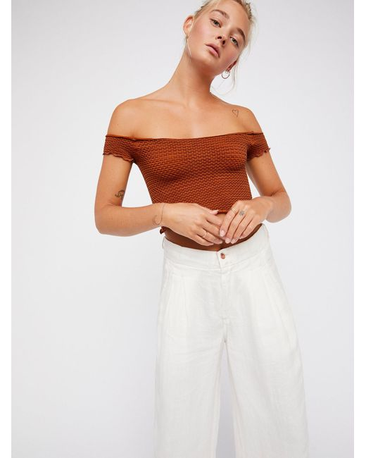 Free People - Brown Smocked Crop Top - Lyst