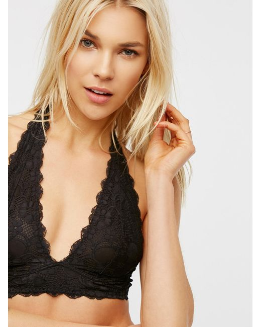 Free People - Black Galloon Lace Halter Bra - Lyst