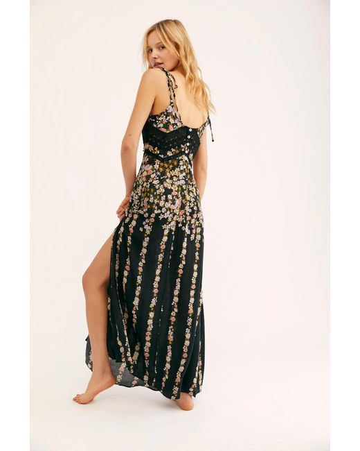 21652365fed80 ... Free People - Black Claire Printed Maxi Slip - Lyst