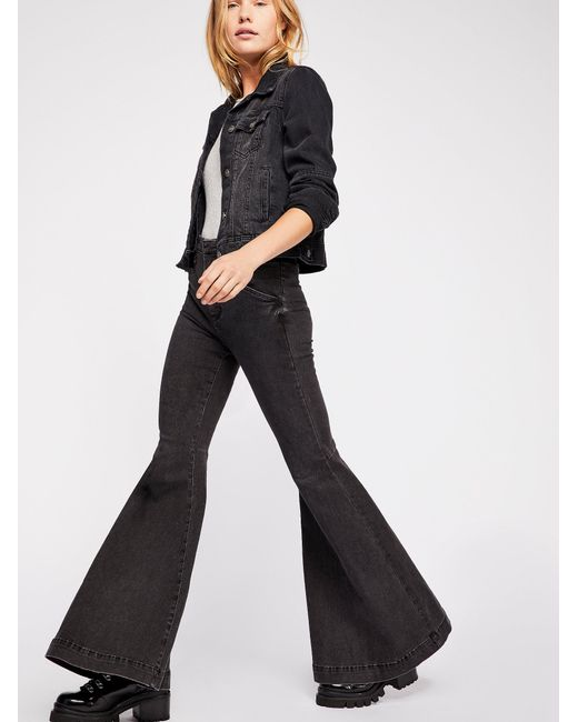 9d6896438e3 Free People Maddox Denim Bell Bottom Jeans in Black - Save 22% - Lyst